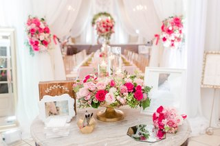wedding-reception-guest-book-table-with-photo-of-couple-and-wood-sign-mirror-well-wishes