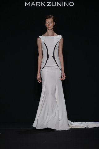 mark-zunino-for-kleinfeld-2016-black-and-white-wedding-dress-with-high-neckline