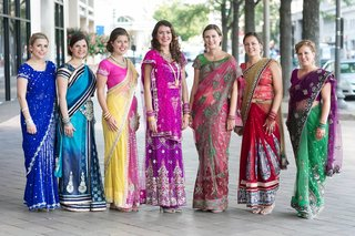 bride-and-bridesmaids-in-traditional-saris