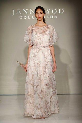 jenny-yoo-bridesmaids-2016-flutter-sleeve-floor-length-flower-print-bridesmaid-dress