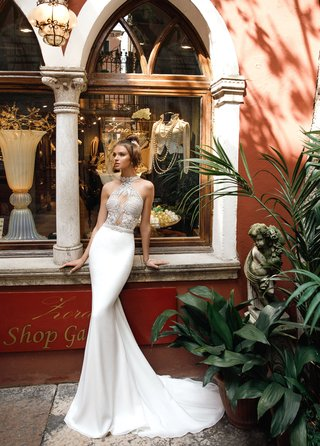 alexia-julie-vino-2018-two-piece-dress-body-suit-embroidered-applique-fitted-chiffon-skirt