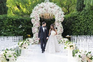 bride-in-galia-lahav-wedding-dress-groom-in-tux-white-pink-flower-chuppah-beverly-hills-hotel