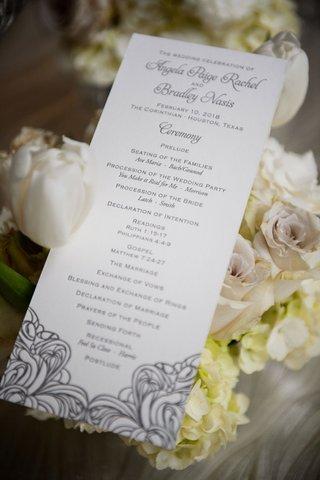 wedding-ceremony-program-rectangular-stationery-silver-grey-lettering-motif-design