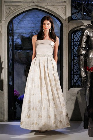 oleg-cassini-spring-2018-wedding-dress-cuff-gown-with-pleated-skirt-jackie-o-first-lady-gold-satin