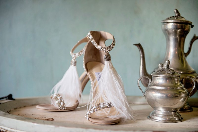 Bridal Shoes with Feathers
