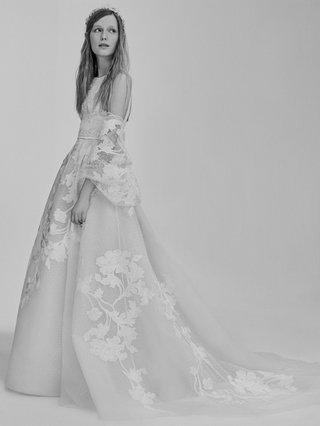 black-and-white-photo-of-elie-saab-bridal-spring-2017-flower-print-tulle-dress-leaf-design-bolero