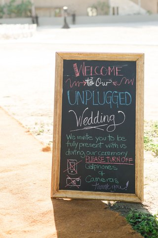 wedding-ceremony-with-chalkboard-colorful-chalk-unplugged-wedding-no-cell-phones-or-cameras