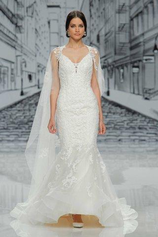 justin-alexander-spring-summer-2017-mermaid-wedding-dress-v-neck-lace-details-cape-lace-appliques
