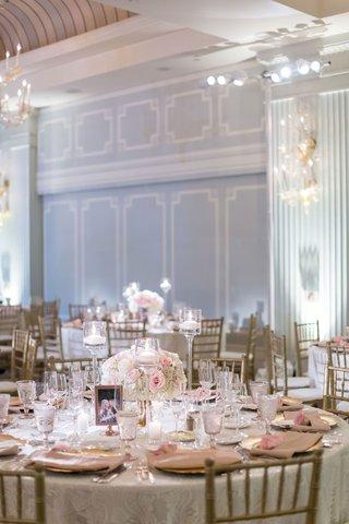 ballroom-wedding-reception-casa-del-mar-textured-linen-gold-chairs-low-centerpiece-floating-candles