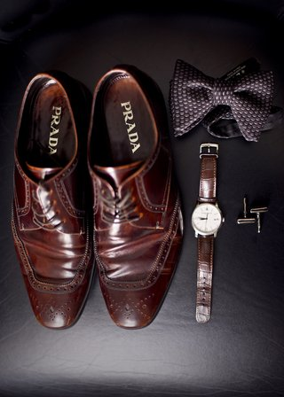 mens-prada-dress-shoes-in-brown-brown-leather-watch-patterned-bow-tie-and-cuff-links