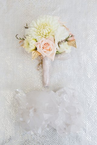 bouquet-of-white-mums-golden-leaves-pink-roses-bound-in-fabric-with-silver-glitter-for-bridesmaid