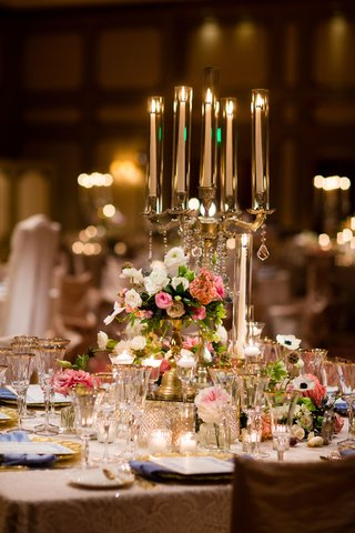 gold-candelabra-wedding-reception-centerpiece-pink-white-flowers-anemone-peony-rose-gold-charger