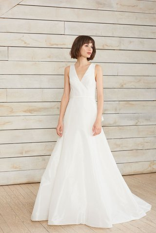 dillon-by-nouvelle-amsale-spring-2018-v-neck-fit-to-flare-taffeta-gown-illusion-back-covered-buttons