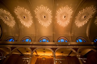 vibiana-wedding-reception-art-deco-lighting-on-ceiling-heidi-gibson-engagement-ring-lighting