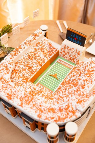 University of Texas at Austin football texas longhorns groom's cake at texas wedding reception