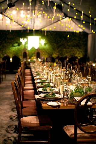 alexis-cozombolidis-and-hunter-pence-wedding-reception-long-tables-velvet-wood-and-gold-details