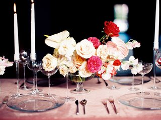 wedding-reception-tablescape-velvet-linens-pink-with-low-centerpiece-white-and-pink-rose-flowers