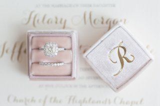 the-mrs-box-engagement-ring-halo-and-diamond-band-in-pink-velvet-ring-box-monogram-initial-gold