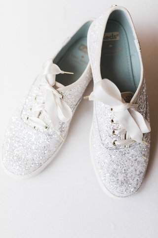 wedding-reception-shoes-keds-kate-spade-collaboration-silver-glitter-white-ribbon-ties