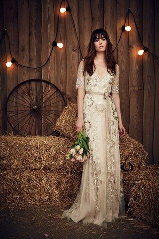 jenny-packham-2017-bridal-collection-faith-flower-embellish-half-sleeve-v-neck-wedding-dress-ribbon