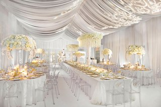 wedding-reception-decorations-all-white-drapery-gold-accents-white-flowers-akeem-clayton-designs