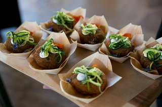 falafel-with-vegetable-shavings-on-top-as-passed-wedding-appetizers