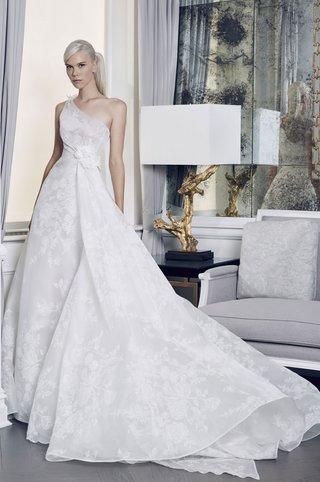 romona-keveza-collection-bridal-fall-2018-one-shoulder-asymmetrical-lace-organza-wedding-dress