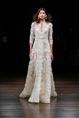 naeem-khan-bridal-fall-2017-kauai-wedding-dress-high-neck-collar-three-quarter-flower-embroidery