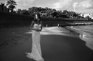 black-and-white-photo-of-lihi-hod-2016-strapless-lace-wedding-dress