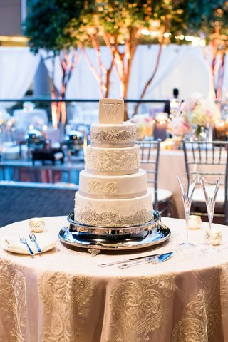 five-tier-four-tier-white-cake-bride-groom-first-last-initials-round-tray-table