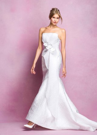 angel-sanchez-fall-2016-strapless-gown-with-ruffle-and-flowers-at-waist