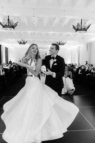 black-and-white-photo-of-bride-in-romona-keveza-dancing-with-groom