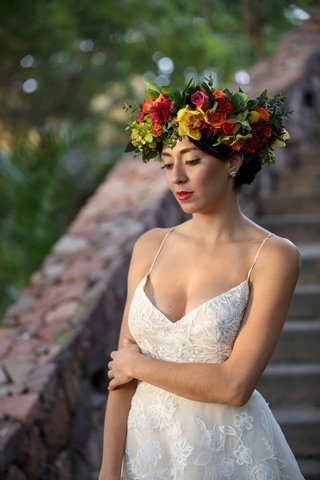 bride-model-colorful-flower-crown-mexico-otomi-culture-punta-mita-wedding-styled-shoot-frida-kahlo
