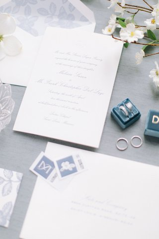 classic-wedding-invitation-white-blue-floral-envelope-liner-stamps-calligraphy