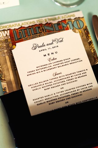 wedding-dinner-menu-in-dark-napkin-on-little-nemo-return-to-slumberland-comic-book-wedding-favor
