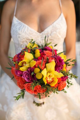 orange-pink-yellow-bouquet-red-colorful-destination-wedding-styled-shoot-punta-mita-mexico-tropical