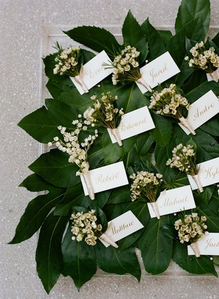 lily-of-the-valley-groomsmen-boutonnieres-on-top-of-greenery-leaves-tags-with-groomsmen-names