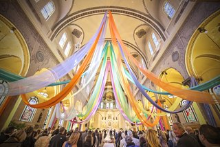 colorful-chicago-church-wedding-ceremony-with-orange-green-purple-and-blue-fabric