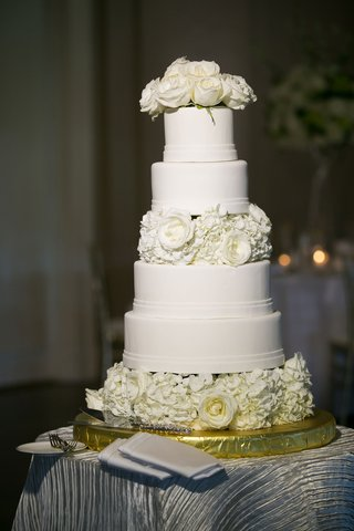 wedding-cake-white-fondant-with-ivory-rose-and-hydrangea-flowers-cake-topper-and-layer
