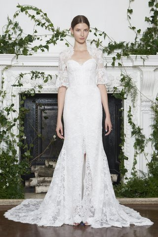 monique-lhuillier-fall-2018-lace-gown-corset-bodice-slit-in-skirt-lace-jacket-with-half-sleeves