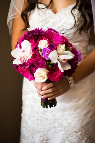 vibrant-pink-and-fuchsia-wedding-bouquet-with-orchid-rose-gerber-daisy