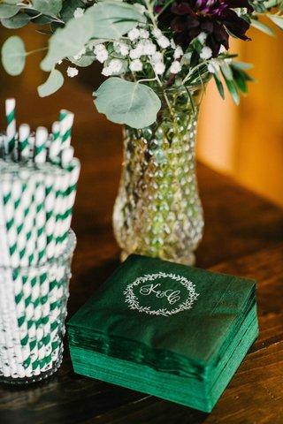 green-custom-cocktail-napkins-theme-maine-wedding-monogram-stripe-straws