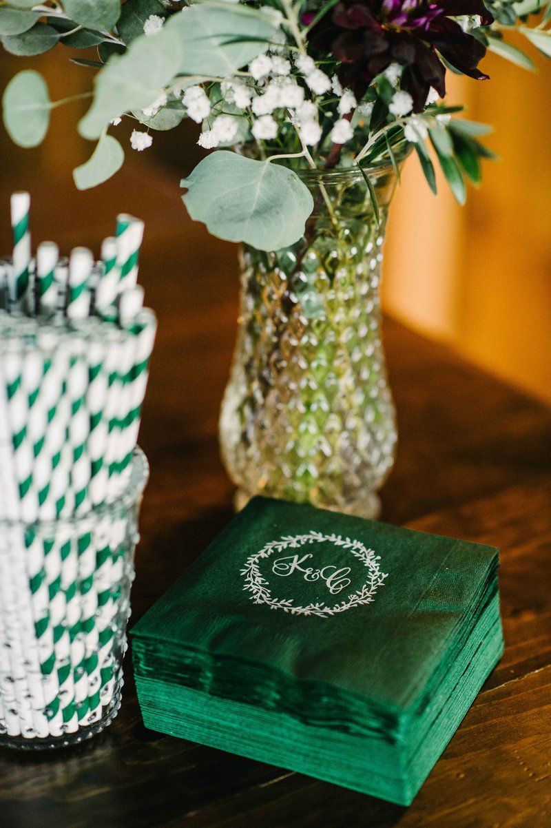 Green, Custom Cocktail Napkins