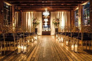 carondelet-house-wedding-ceremony-hardwood-floors-wood-ceilings-candles-black-and-gold