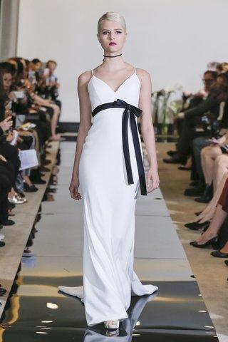 justin-alexander-spring-2018-crepe-fit-and-flare-gown-black-belt-empire-waist-designer-wedding
