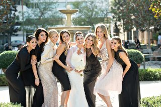 bride-in-oscar-de-la-renta-snowflake-mermaid-gown-with-friends-in-their-own-dresses