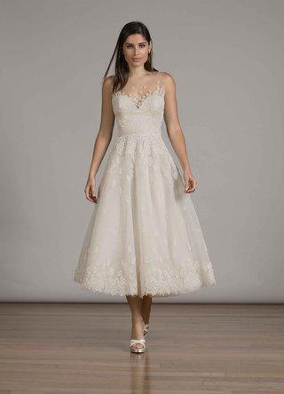 liancarlo-fall-2016-tea-length-wedding-dress-with-illusion-neckline-and-lace-hem
