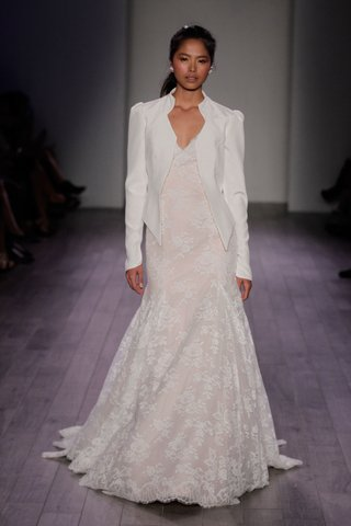 jim-hjelm-spring-2016-lace-wedding-dress-in-light-blush-with-white-blazer-jacket