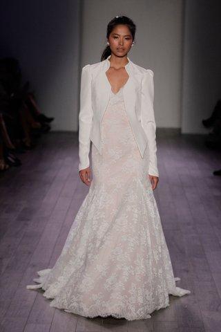 jim-hjelm-spring-2016-lace-wedding-dress-in-light-blush-with-white-blazer-jacket