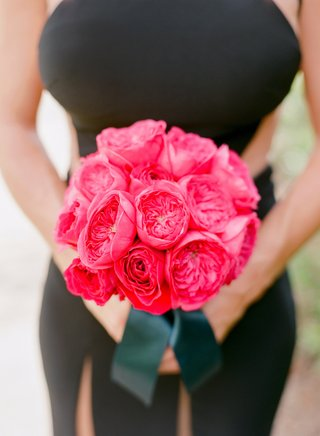 black-bridesmaid-dress-and-hot-pink-garden-roses